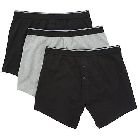 Buy John Lewis Organic Cotton Button Fly Trunks, Pack of 3, Black/Grey Online at johnlewis.com