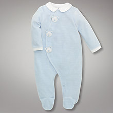 Buy John Lewis Baby Blue Teddy Faces Stripe Velour Sleepsuit Online at johnlewis.com