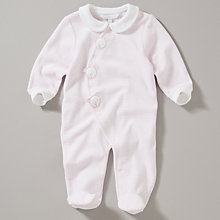 Buy John Lewis Baby Pink Teddy Faces Stripe Velour Sleepsuit Online at johnlewis.com