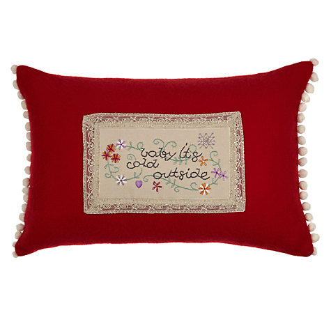 Buy Avoca Baby It's Cold Outside Christmas Cushion, Red Online at johnlewis.com