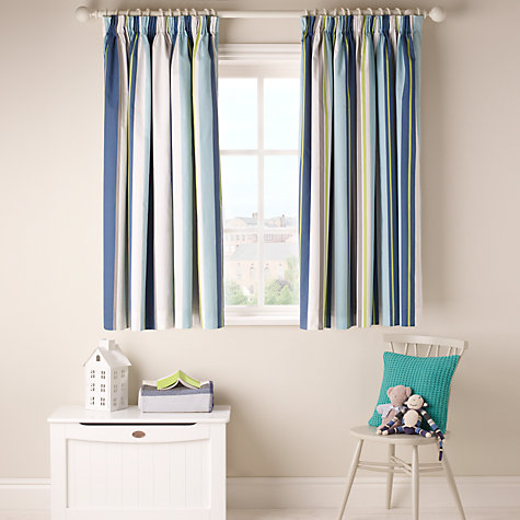 Buy little home at John Lewis Robotica Finlay Stripe Pencil Pleat Blackout Lined Curtains, Blue Online at johnlewis.com
