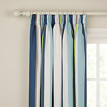 Buy little home at John Lewis Finlay Stripe Pencil Pleat Blackout Lined Robot Curtains, Pair, Blue Online at johnlewis.com
