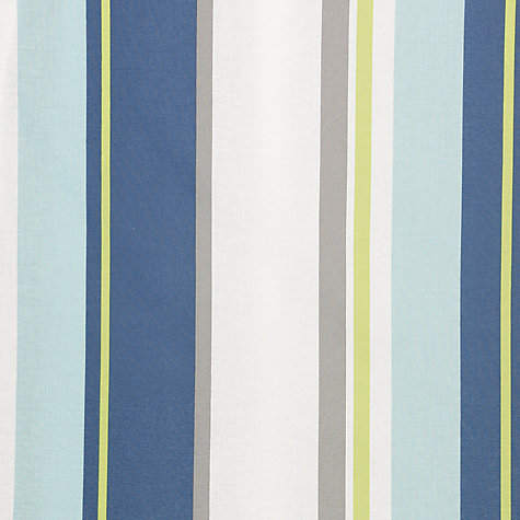 Buy little home at John Lewis Finlay Stripe Pencil Pleat Blackout Lined Curtains, Blue Online at johnlewis.com