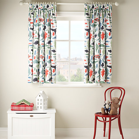 Buy little home at John Lewis Dinotastic Blackout Lined Pencil Pleat Curtains, Blue Online at johnlewis.com