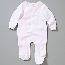Buy John Lewis Baby Teddy Appliqué Sleepsuit, Pink Online at johnlewis.com