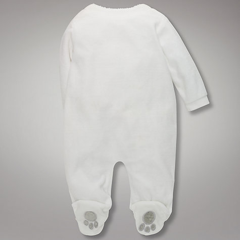 Buy John Lewis Baby Teddy Appliqué Sleepsuit, White Online at johnlewis.com