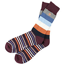 Buy Barbour Heywood Stripe Socks, One Size, Maroon Online at johnlewis.com
