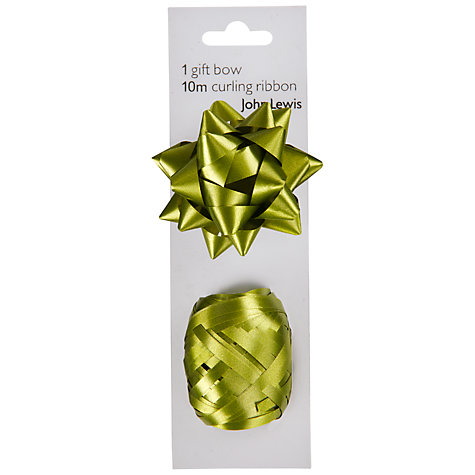 Buy John Lewis Gift Bow and Curling Ribbon Set, Green Online at johnlewis.com