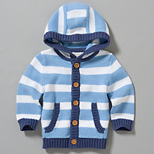Buy John Lewis Baby Striped Knitted Cardigan, White/Blue Online at johnlewis.com