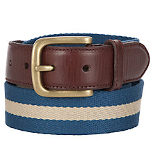 Buy John Lewis Canvas Chino Stripe Belt, Blue Online at johnlewis.com
