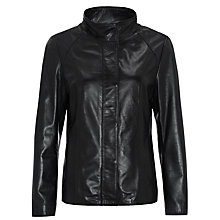 Buy John Lewis Funnel Neck Leather Jacket, Black Online at johnlewis.com