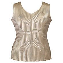 Buy Chesca Stripy Geometric Trim Top, Champagne Online at johnlewis.com