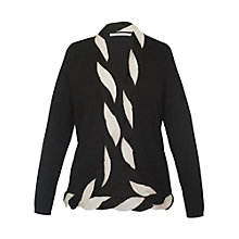 Buy Chesca Contrast Cable Moss Stitch Cardigan, Black Online at johnlewis.com