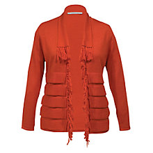 Buy Chesca Striped Fringe Trim Cardigan, Burnt Orange Online at johnlewis.com
