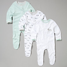 Buy John Lewis Baby 3 Pack Animal Stripe Sleepsuit, Cream Online at johnlewis.com