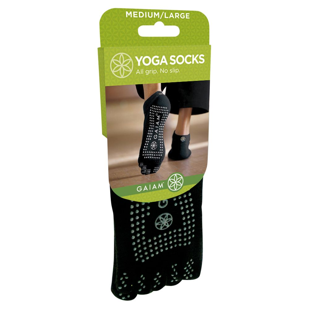 Gaiam All Grip Yoga Socks, Black