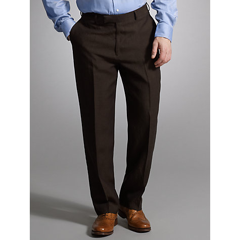 Buy John Lewis Classic Linen Suit Trousers, Chocolate Online at johnlewis.com