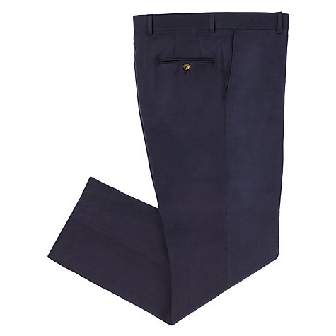 Buy John Lewis Classic Linen Suit Trousers, Navy Online at johnlewis.com