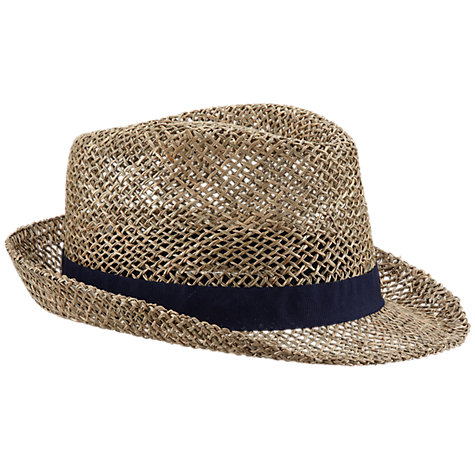 Buy John Lewis Seagrass Straw Trilby, Stone Online at johnlewis.com