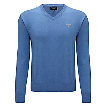 Buy Gant Solid Cotton V-Neck Jumper Online at johnlewis.com