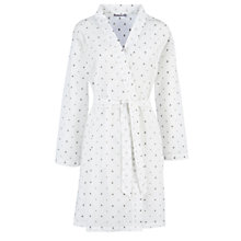 Buy John Lewis Marie Dobby Spot Cotton Robe, White/Grey Online at johnlewis.com