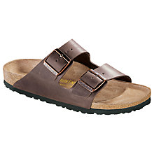 Buy Birkenstock Men's Arizona Leather Sandals, Brown Online at johnlewis.com