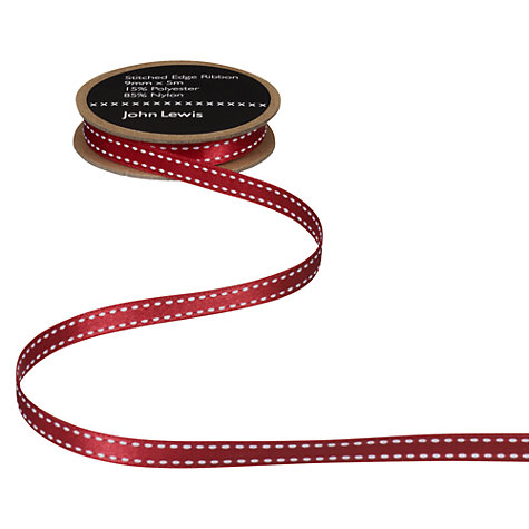 Buy John Lewis Stitched Edge Ribbon, White/Red Online at johnlewis.com