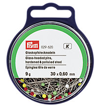 Buy Prym Straight Glass-Headed Pins, 0.60 x 30 mm, 9G Tub Online at johnlewis.com