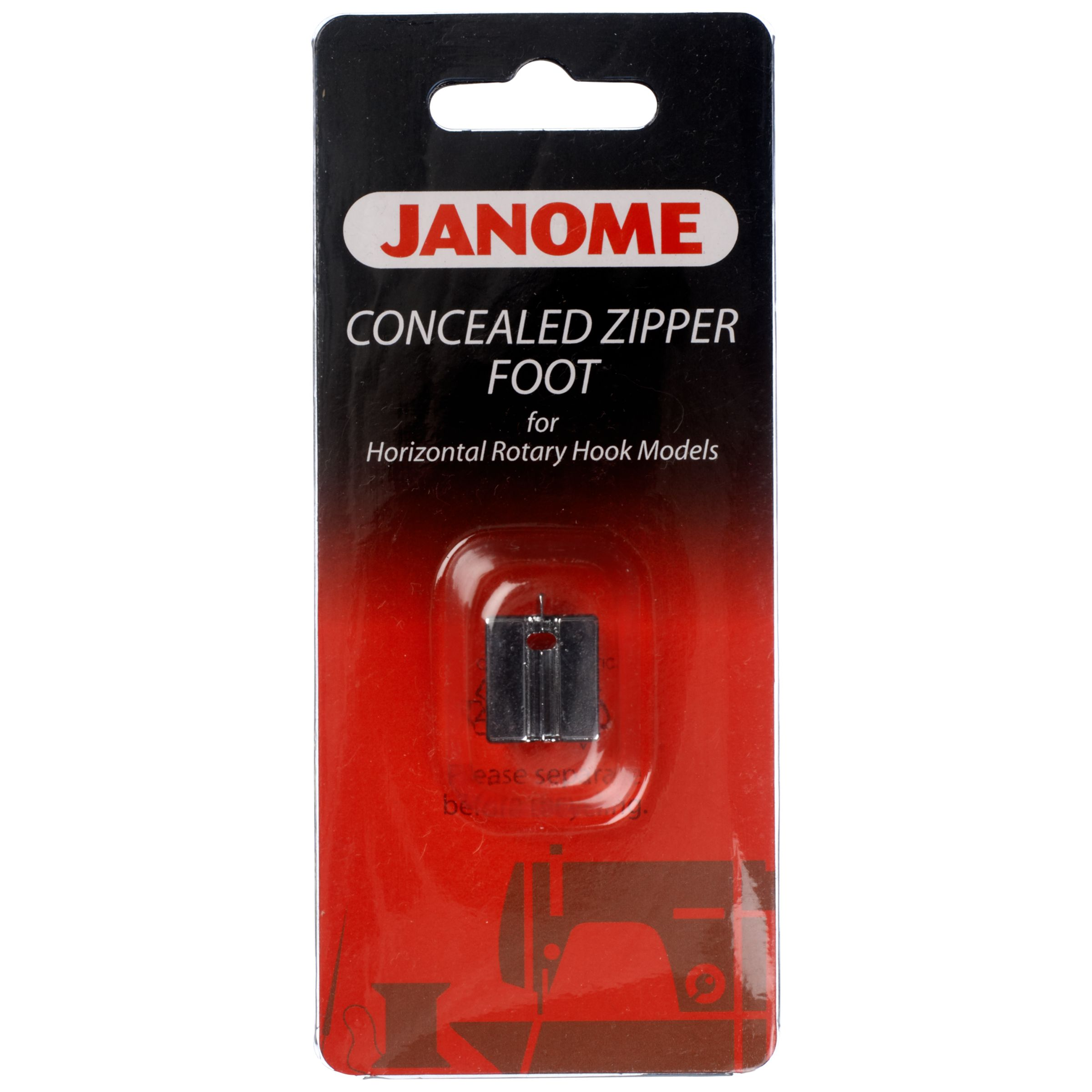 Janome Janome Concealed Zipper Foot, Horizontal Rotary Hook Models