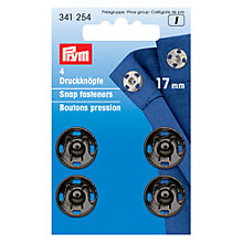 Buy Prym Sew-On Metal Snap Fasteners, 17mm, Pack of 4, Black Online at johnlewis.com