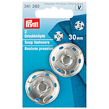 Buy Prym Sew-On Snap Fasteners, 30mm, Pack of 2, Silver Online at johnlewis.com