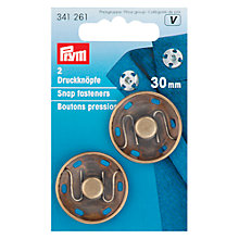 Buy Prym Sew-On Snap Fasteners, 30mm, Pack of 2, Antique Brass Online at johnlewis.com