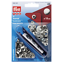 Buy Prym Brass Anorak Press Fasteners, 15mm, Silver, Pack of 10 Online at johnlewis.com