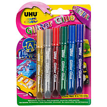 Buy UHU Glitter Glue, 10ml Tubes, Pack of 6 Online at johnlewis.com