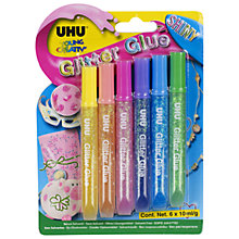 Buy UHU Shiny Glitter Glue, 10ml Tubes, Pack of 6 Online at johnlewis.com