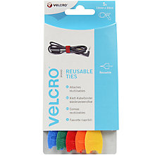 Buy Velcro Adjustable Cable Ties, Various Colours, 12mm x 20cm Online at johnlewis.com