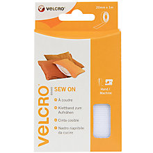 Buy Velcro Sew-On Tape, 20mm x 1m, White Online at johnlewis.com