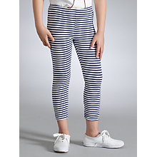 Buy John Lewis Girl Stripe Leggings, Blue/cream Online at johnlewis.com