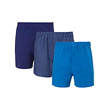 Buy John Lewis Organic Jersey Cotton Boxers, Pack of 3, Blue Online at johnlewis.com