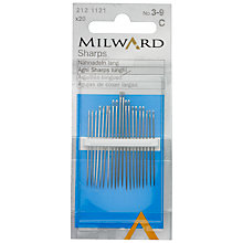 Buy Milward Sharps Sewing Needles, Sizes 3-9, Pack of 20 Online at johnlewis.com