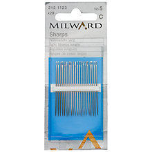Buy Milward Sharps Sewing Needles, Size 5, Pack of 20 Online at johnlewis.com