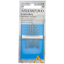 Buy Milward Embroidery Needles, Sizes 3-9, Pack of 16 Online at johnlewis.com