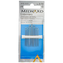Buy Milward Embroidery Needles, Sizes 5-10, Pack of 16 Online at johnlewis.com