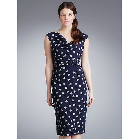 Buy Gina Bacconi Cowl Neck Spot Dress, Navy Online at johnlewis.com