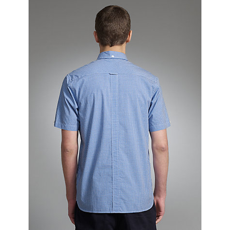 Buy Fred Perry Short Sleeved Gingham Patterned Shirt, Blue Online at johnlewis.com