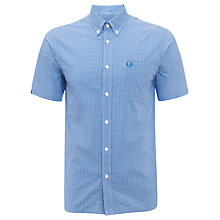 Buy Fred Perry Gingham Short Sleeve Shirt, Blue Online at johnlewis.com