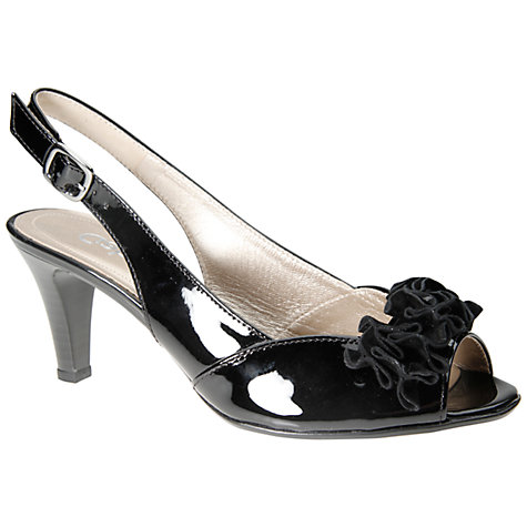 Buy Gabor Dazzling Patent Peep Toe Slingblack Flower Detail Sandals, Black Online at johnlewis.com