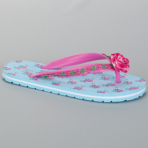 Buy John Lewis Girl Floral Flip Flops, Blue Online at johnlewis.com
