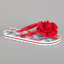 Buy John Lewis Girl Poppy Flower Flip Flops, Red Online at johnlewis.com