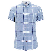 Buy KnowledgeCotton Apparel Short Sleeve Linen Check Shirt, Light Blue Online at johnlewis.com